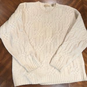 Men's wool/silk cable knit sweater